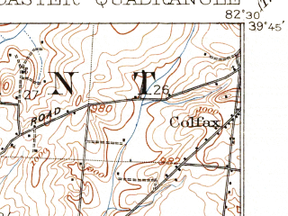 Reduced fragment of topographic map en--usgs--063k--056530--(1909)--N039-45_W082-45--N039-30_W082-30; towns and cities Lancaster, Amanda, Sugar Grove
