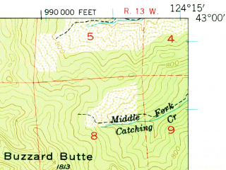 Reduced fragment of topographic map en--usgs--063k--056545--(1954)--N043-00_W124-30--N042-45_W124-15