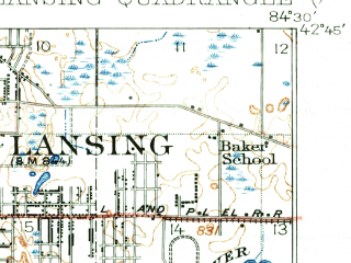 Reduced fragment of topographic map en--usgs--063k--056548--(1912)--N042-45_W084-45--N042-30_W084-30; towns and cities Lansing, Holt, Waverly, Edgemont Park, Potterville