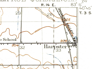 Reduced fragment of topographic map en--usgs--063k--056561--(1915)--N040-45_W083-30--N040-30_W083-15; towns and cities Harpster, La Rue, Marseilles