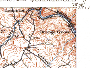 Reduced fragment of topographic map en--usgs--063k--056580--(1907)--N039-15_W077-00--N039-00_W076-45; towns and cities Columbia, Adelphi, South Laurel, Beltsville, Burtonsville