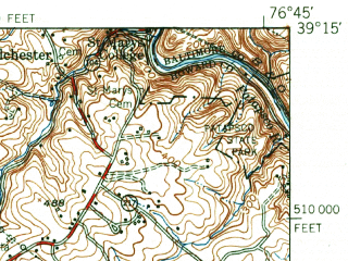 Reduced fragment of topographic map en--usgs--063k--056580--(1949)--N039-15_W077-00--N039-00_W076-45; towns and cities Columbia, Laurel, North Laurel, Elkridge, Cloverly