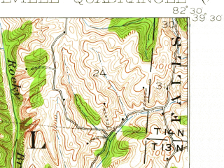 Reduced fragment of topographic map en--usgs--063k--056583--(1910)--N039-30_W082-45--N039-15_W082-30; towns and cities Laurelville, Adelphi