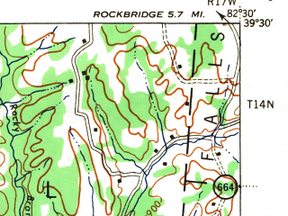 Reduced fragment of topographic map en--usgs--063k--056583--(1944)--N039-30_W082-45--N039-15_W082-30; towns and cities Adelphi, Laurelville