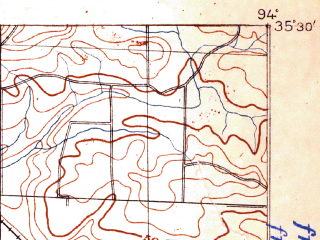 Reduced fragment of topographic map en--usgs--063k--056587--(1906)--N035-30_W094-15--N035-15_W094-00; towns and cities Kibler, Lavaca, Alma