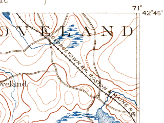Reduced fragment of topographic map en--usgs--063k--056592--(1888)--N042-45_W071-15--N042-30_W071-00 in area of Lake Cochichewick; towns and cities Lawrence, Methuen, Wakefield, Reading, Wilmington