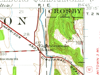 Reduced fragment of topographic map en--usgs--063k--056594--(1928)--N039-15_W085-00--N039-00_W084-45; towns and cities Harrison, Aurora, Bright, Greendale