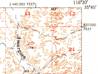 Reduced fragment of topographic map en--usgs--063k--056608--(1951)--N035-45_W116-45--N035-30_W116-30