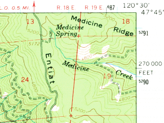Reduced fragment of topographic map en--usgs--063k--056618--(1964)--N047-45_W120-45--N047-30_W120-30; towns and cities Leavenworth