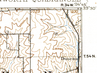 Reduced fragment of topographic map en--usgs--063k--056619--(1910)--N039-30_W095-00--N039-15_W094-45; towns and cities Leavenworth, Platte City, Tracy, Weston