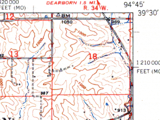 Reduced fragment of topographic map en--usgs--063k--056619--(1951)--N039-30_W095-00--N039-15_W094-45; towns and cities Leavenworth, Farley, Iatan, Platte City
