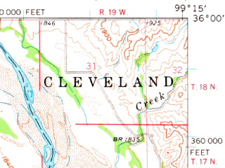 Reduced fragment of topographic map en--usgs--063k--056633--(1961)--N036-00_W099-30--N035-45_W099-15; towns and cities Leedey