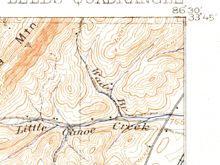 Reduced fragment of topographic map en--usgs--063k--056634--(1905)--N033-45_W086-45--N033-30_W086-30; towns and cities Center Point, Pinson-clay-chalkville, Irondale, Leeds, Trussville