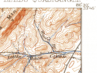 Reduced fragment of topographic map en--usgs--063k--056634--(1907)--N033-45_W086-45--N033-30_W086-30; towns and cities Center Point, Pinson-clay-chalkville, Irondale, Leeds, Argo
