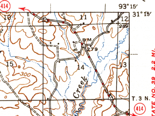 Reduced fragment of topographic map en--usgs--063k--056640--(1946)--N031-15_W093-30--N031-00_W093-15 in area of Anacoco Lake; towns and cities Leesville, Newllano