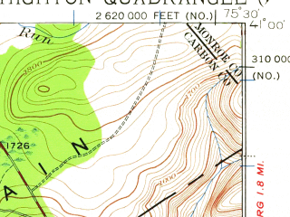 Reduced fragment of topographic map en--usgs--063k--056645--(1922)--N041-00_W075-45--N040-45_W075-30 in area of Beltzville Lake; towns and cities Jim Thorpe, Lehighton, Palmerton, Walnutport, Weissport