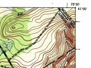 Reduced fragment of topographic map en--usgs--063k--056645--(1943)--N041-00_W075-45--N040-45_W075-30 in area of Beltzville Lake; towns and cities Jim Thorpe, Lehighton, Palmerton, Walnutport, Weissport