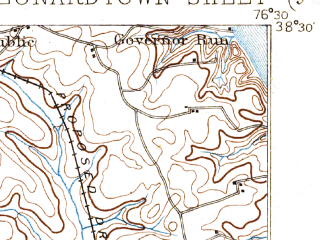 Reduced fragment of topographic map en--usgs--063k--056657--(1895)--N038-30_W076-45--N038-15_W076-30; towns and cities Golden Beach, Leonardtown