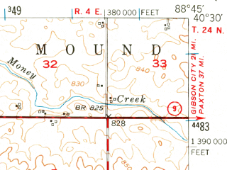 Reduced fragment of topographic map en--usgs--063k--056663--(1951)--N040-30_W089-00--N040-15_W088-45; towns and cities Bloomington, Downs, Heyworth, Le Roy