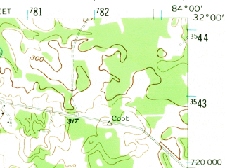 Reduced fragment of topographic map en--usgs--063k--056664--(1956)--N032-00_W084-15--N031-45_W084-00; towns and cities De Soto, Leslie
