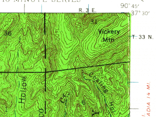 Reduced fragment of topographic map en--usgs--063k--056666--(1943)--N037-30_W091-00--N037-15_W090-45; towns and cities Centerville