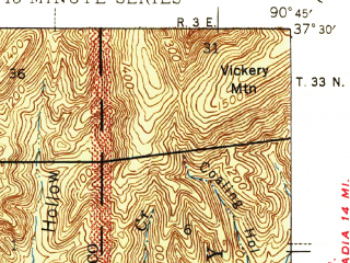 Reduced fragment of topographic map en--usgs--063k--056666--(1946)--N037-30_W091-00--N037-15_W090-45; towns and cities Centerville