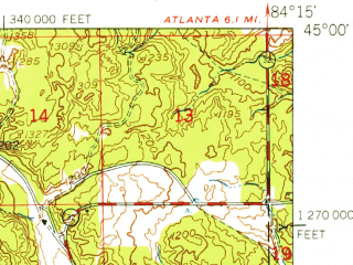 Reduced fragment of topographic map en--usgs--063k--056672--(1949)--N045-00_W084-30--N044-45_W084-15 in area of West Twin Lake, East Twin Lake