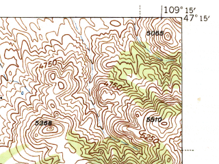 Reduced fragment of topographic map en--usgs--063k--056675--(1944)--N047-15_W109-30--N047-00_W109-15; towns and cities Lewistown