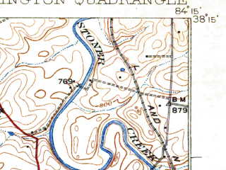 Reduced fragment of topographic map en--usgs--063k--056680--(1929)--N038-15_W084-30--N038-00_W084-15; towns and cities Lexington, Paris