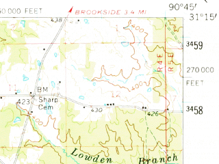 Reduced fragment of topographic map en--usgs--063k--056685--(1961)--N031-15_W091-00--N031-00_W090-45; towns and cities Liberty