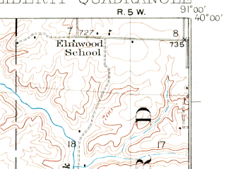 Reduced fragment of topographic map en--usgs--063k--056688--(1925)--N040-00_W091-15--N039-45_W091-00; towns and cities Columbus, Liberty, Payson