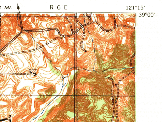 Reduced fragment of topographic map en--usgs--063k--056730--(1942)--N039-00_W121-30--N038-45_W121-15; towns and cities Roseville, Lincoln