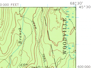 Reduced fragment of topographic map en--usgs--063k--056732--(1957)--N045-30_W068-45--N045-15_W068-30 in area of South Branch Lake; towns and cities Howland