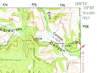 Reduced fragment of topographic map en--usgs--063k--056733--(1961)--N033-30_W105-30--N033-15_W105-15