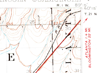 Reduced fragment of topographic map en--usgs--063k--056735--(1911)--N040-15_W089-30--N040-00_W089-15; towns and cities Lincoln, Broadwell, Elkhart, Mount Pulaski