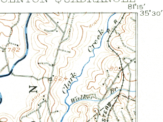 Reduced fragment of topographic map en--usgs--063k--056739--(1909)--N035-30_W081-30--N035-15_W081-15 in area of Moss Lake; towns and cities Light Oak, Waco, Bessemer City