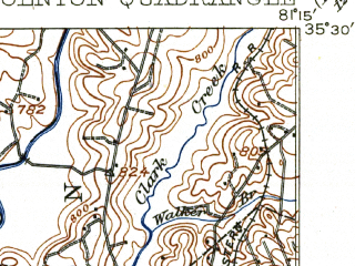 Reduced fragment of topographic map en--usgs--063k--056739--(1911)--N035-30_W081-30--N035-15_W081-15 in area of Moss Lake; towns and cities Bessemer City, Cherryville, Dellview