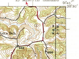 Reduced fragment of topographic map en--usgs--063k--056753--(1945)--N038-30_W092-00--N038-15_W091-45; towns and cities Freeburg, Linn