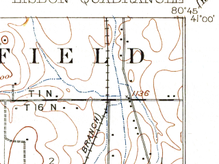 Reduced fragment of topographic map en--usgs--063k--056762--(1909)--N041-00_W081-00--N040-45_W080-45; towns and cities Salem, Hanoverton, Leetonia, Lisbon