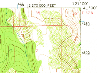 Reduced fragment of topographic map en--usgs--063k--056781--(1957)--N041-00_W121-15--N040-45_W121-00
