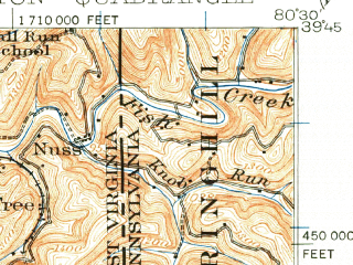 Reduced fragment of topographic map en--usgs--063k--056784--(1924)--N039-45_W080-45--N039-30_W080-30; towns and cities Littleton, Pine Grove
