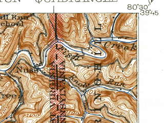 Reduced fragment of topographic map en--usgs--063k--056784--(1926)--N039-45_W080-45--N039-30_W080-30; towns and cities Littleton, Pine Grove