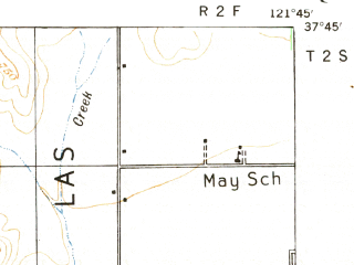 Reduced fragment of topographic map en--usgs--063k--056809--(1941)--N037-45_W122-00--N037-30_W121-45 in area of San Antonio Reservoir; towns and cities Fremont, Pleasanton, Livermore, Dublin