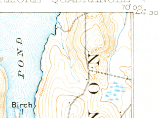 Reduced fragment of topographic map en--usgs--063k--056810--(1912)--N044-30_W070-15--N044-15_W070-00 in area of Androscoggin Lake, Echo Lake, Pocasset Lake; towns and cities Chisholm, Livermore Falls