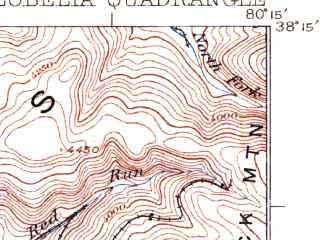 Reduced fragment of topographic map en--usgs--063k--056820--(1925)--N038-15_W080-30--N038-00_W080-15