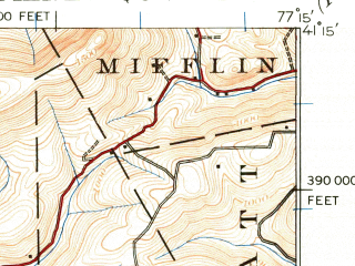 Reduced fragment of topographic map en--usgs--063k--056825--(1921)--N041-15_W077-30--N041-00_W077-15; towns and cities Lock Haven, Castanea, Dunnstown, Flemington