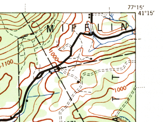 Reduced fragment of topographic map en--usgs--063k--056825--(1944)--N041-15_W077-30--N041-00_W077-15; towns and cities Lock Haven, Loganton, Mill Hall, Avis