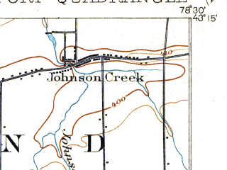Reduced fragment of topographic map en--usgs--063k--056829--(1905)--N043-15_W078-45--N043-00_W078-30; towns and cities Lockport, South Lockport, Clarence Center, Gasport, Rapids