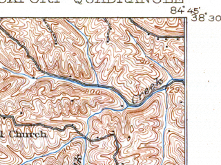 Reduced fragment of topographic map en--usgs--063k--056830--(1908)--N038-30_W085-00--N038-15_W084-45; towns and cities Gratz, Monterey