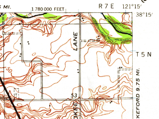 Reduced fragment of topographic map en--usgs--063k--056837--(1939)--N038-15_W121-30--N038-00_W121-15; towns and cities Lodi, Lincoln Village, Woodbridge